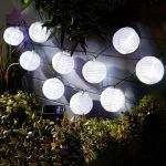 Garden of Eden 11227 Szolár lampion fényfüzér - 10 db fehér lampion, hidegfehér LED - 3,7 m