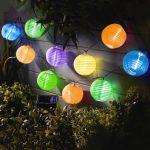 Garden of Eden 11227B Szolár lampion fényfüzér - 10 db színes lampion, hidegfehér LED - 3,7 m
