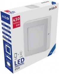 Avide LED Falra Szerelhető Négyzetes Mennyezeti Lámpa ALU 6W CW 6400K