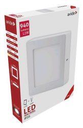 Avide LED Falra Szerelhető Négyzetes Mennyezeti Lámpa ALU 12W WW 3000K ACSMWW-S-12W-ALU