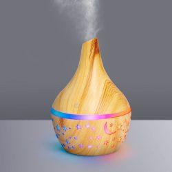 Fényterápiás aroma diffúzor - fahatású minta - 300 ml BW2001