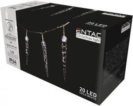 Entac Karácsonyi IP44 20 LED Műanyag 11cm Jégcsapfüzér CW 3m (ECL-I20CW11)