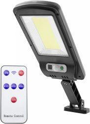 Entac Napelemes Műanyag KÜLTÉRI Fali lámpa 5W COB mozgásérzékelővel és IR távirányítóval (ESLP-COB-R)